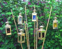 Set of glass garden lanterns